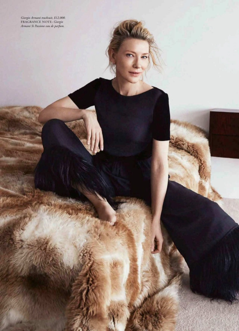 Actress Cate Blanchett poses in a Giorgio Armani jumpsuit