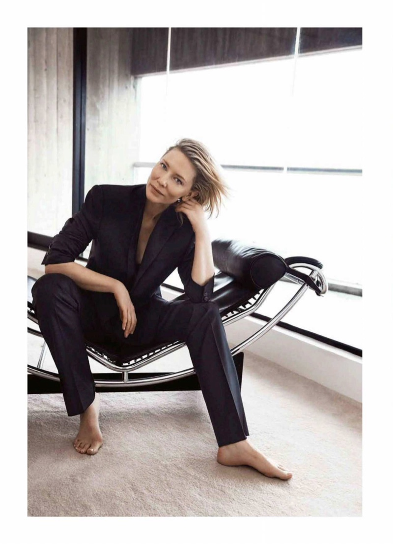 Suiting up, Cate Blanchett poses in Giorgio Armani suit