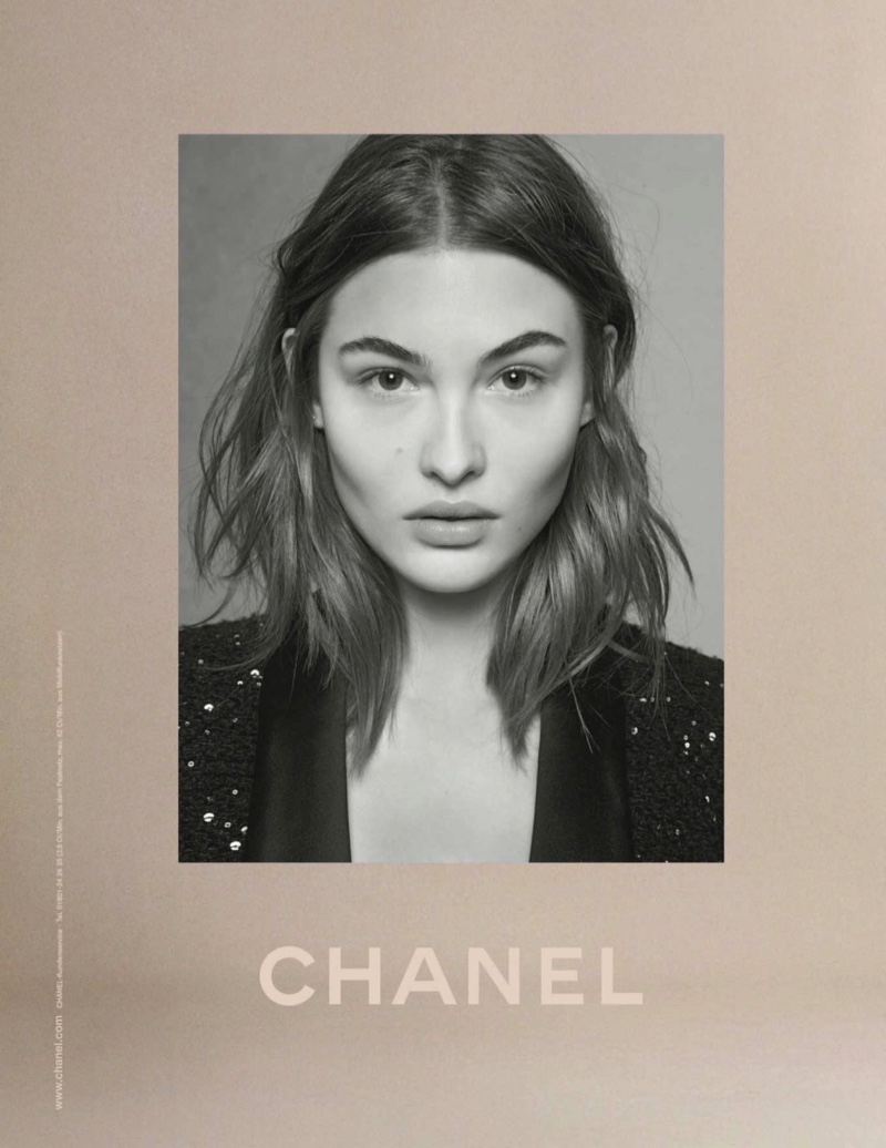 Grace Elizabeth poses for Chanel fall-winter 2018 campaign