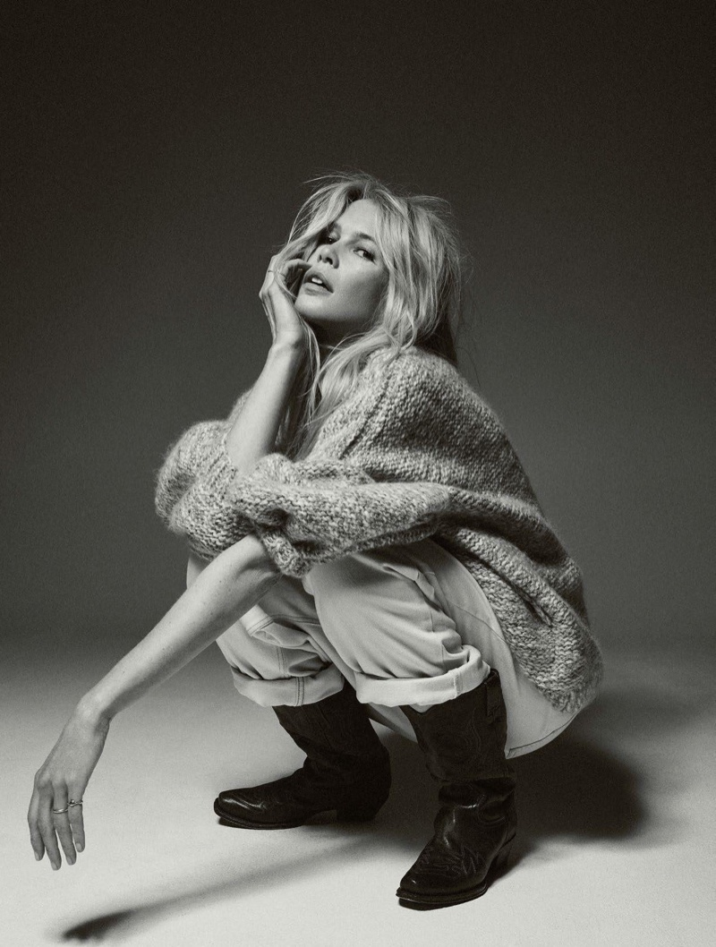 Claudia Schiffer Sports Casual Denim for Vogue Paris
