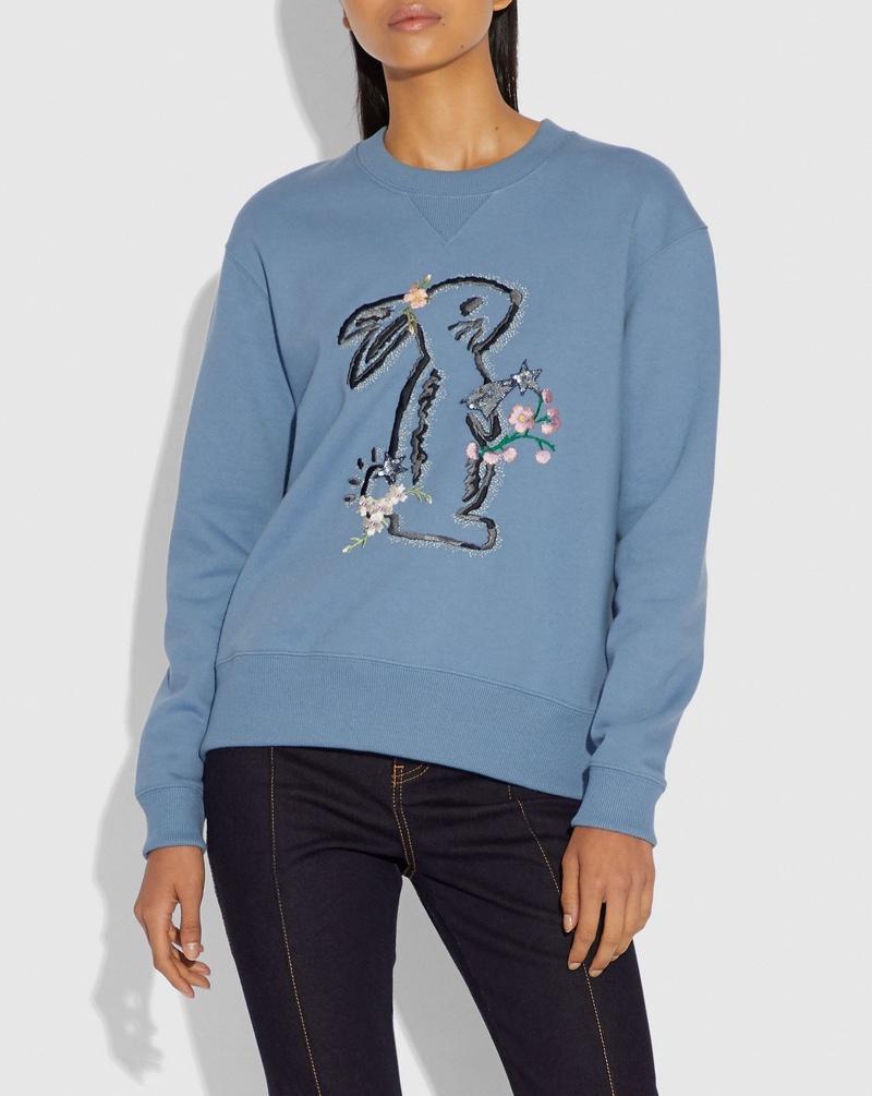Coach x Selena Gomez Bunny Sweatshirt in Dusty Blue $250