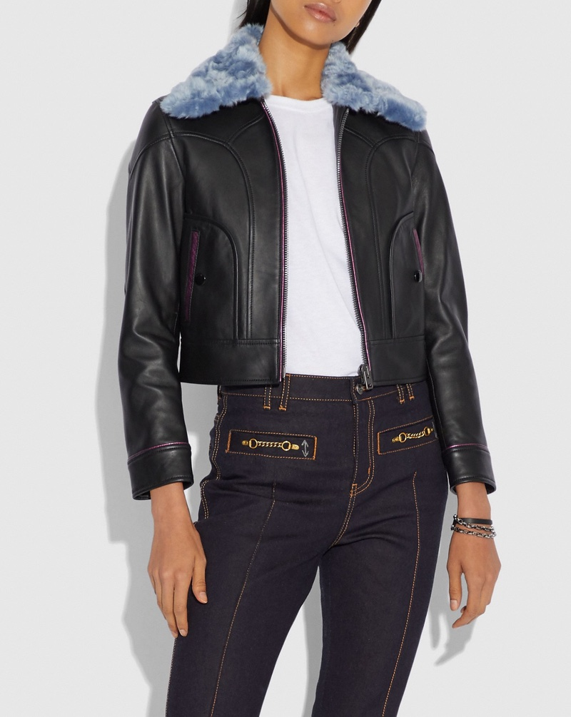 Coach x Selena Gomez Leather Jacket with Faux Fur Collar $1,095