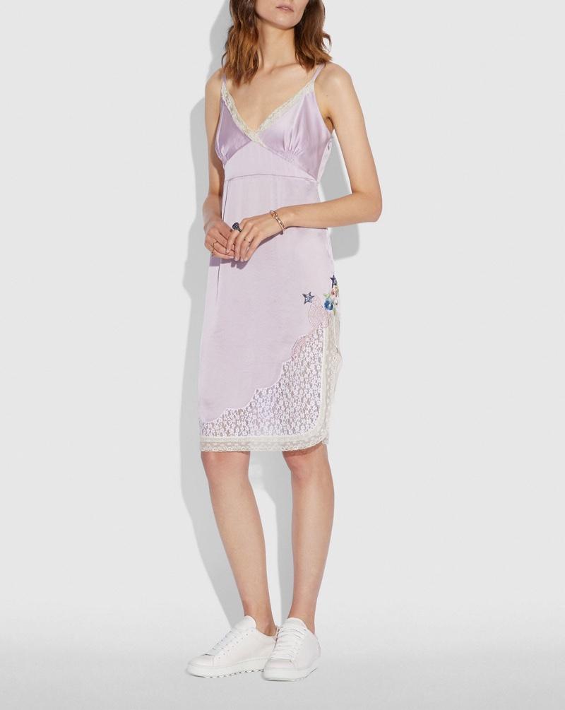 Coach x Selena Gomez Slip Dress in Pale Lilac $495