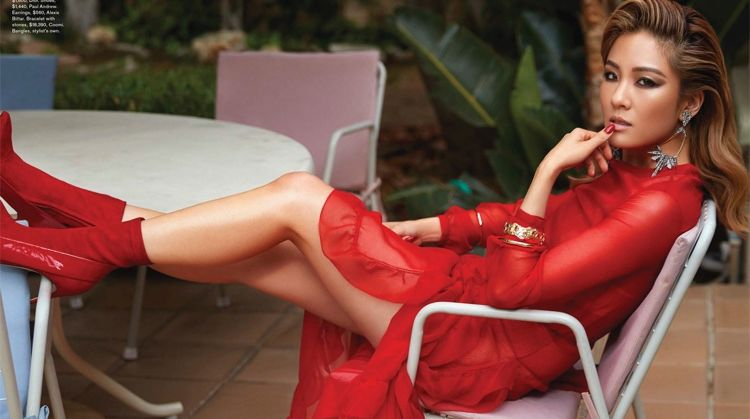 Looking red-hot, Constance Wu wears Dior dress, bra and briefs with Paul Andrew shoes