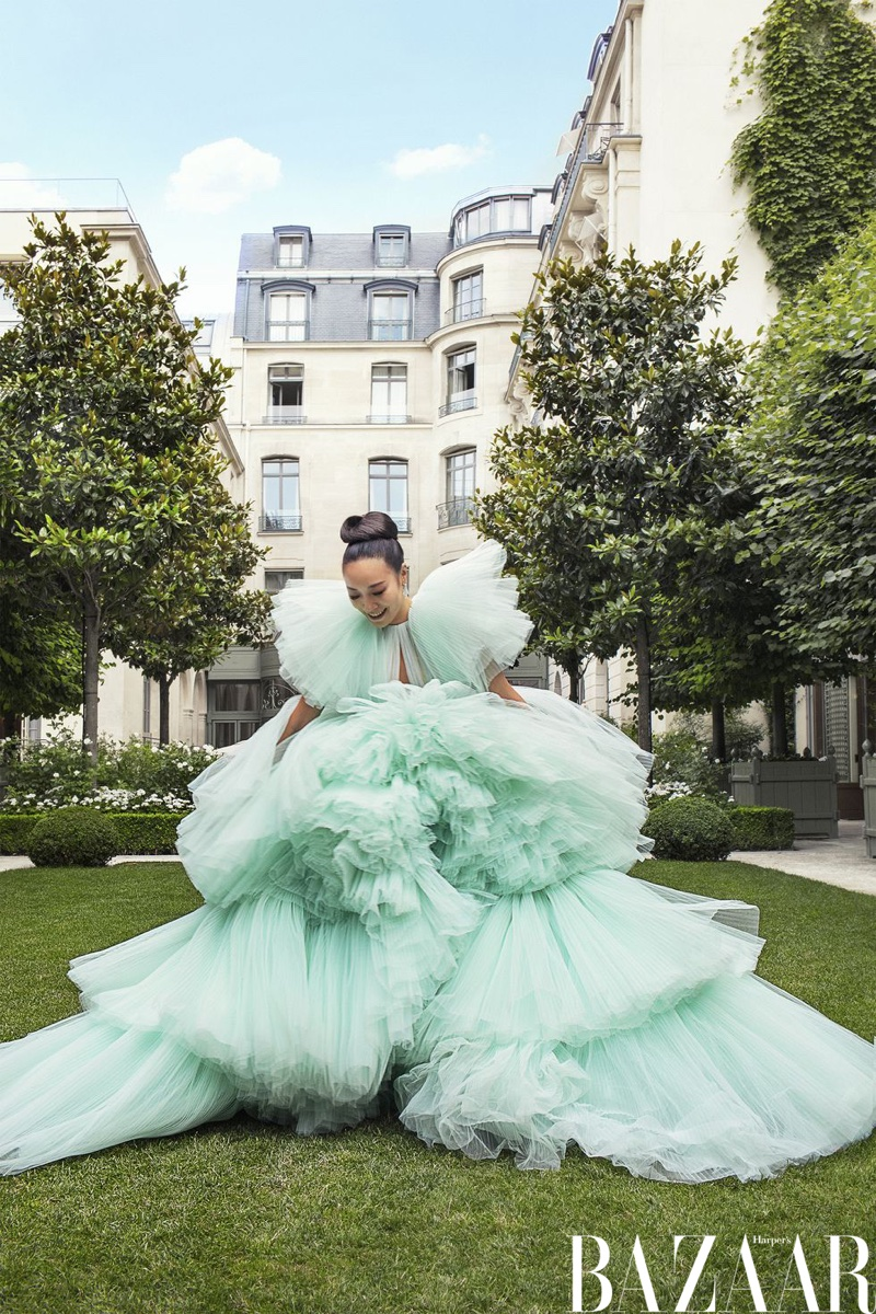 Feiping Chang wears Giambattista Valli Haute Couture gown and Messika Paris earrings
