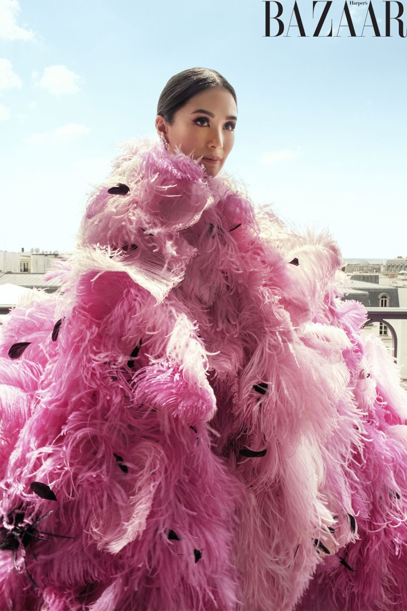 Heart Evangelista poses in Armani Privé cape and Chopard earrings