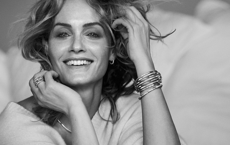 Amber Valletta flashes a smile for David Yurman fall-winter 2018 campaign
