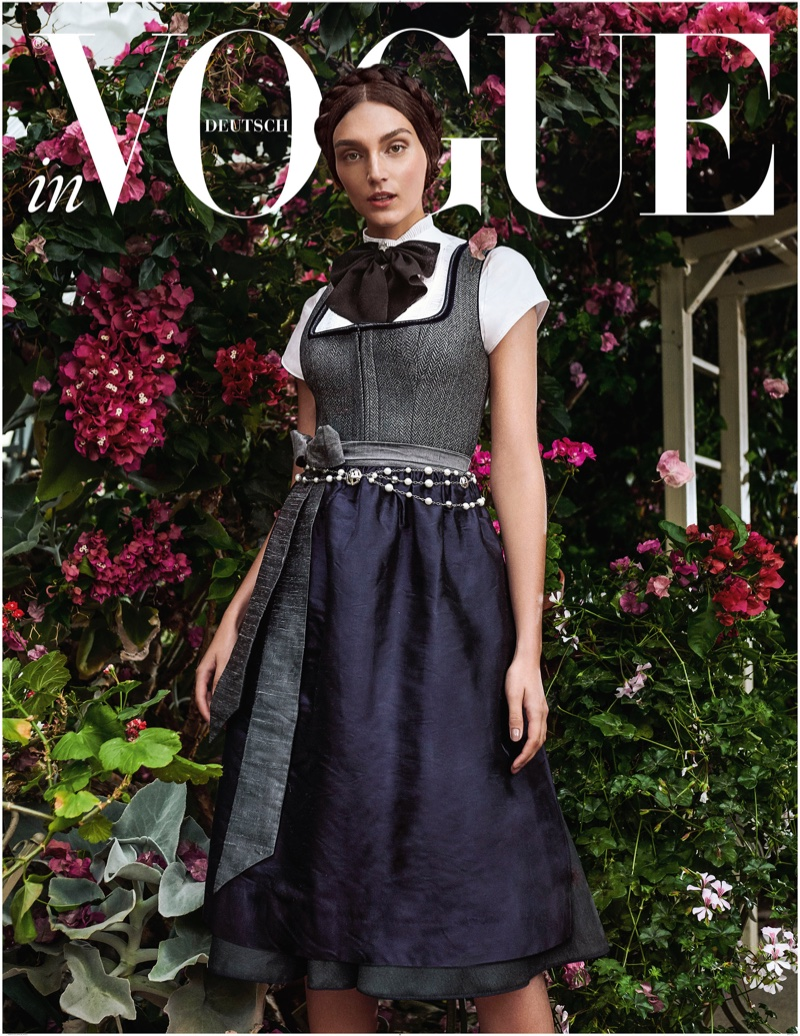 Deimante Misiunaite Models Traditional Dresses for Vogue Germany