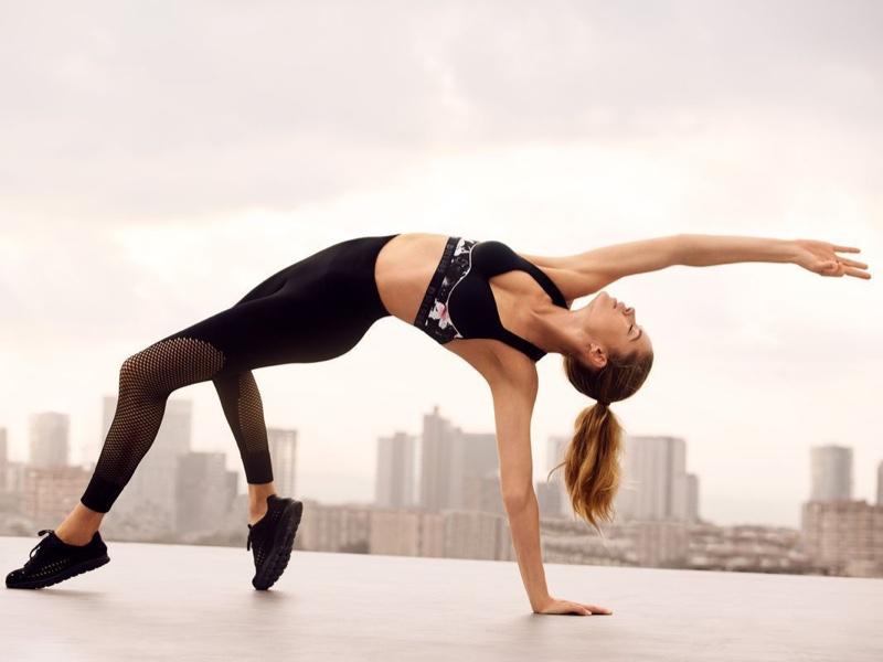 Doing a yoga pose, Doutzen Kroes stars in Hunkemoller DK 1985 campaign