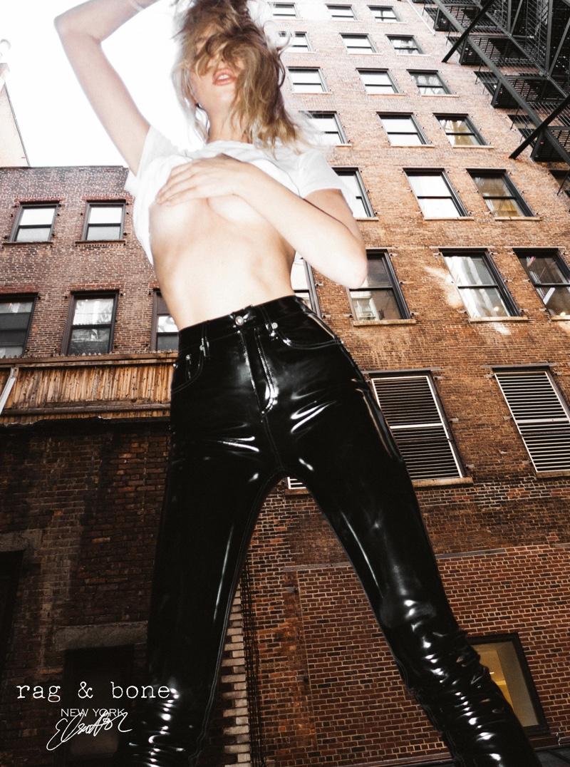 Going topless, Elsa Hosk heats up Rag & Bone DIY Project