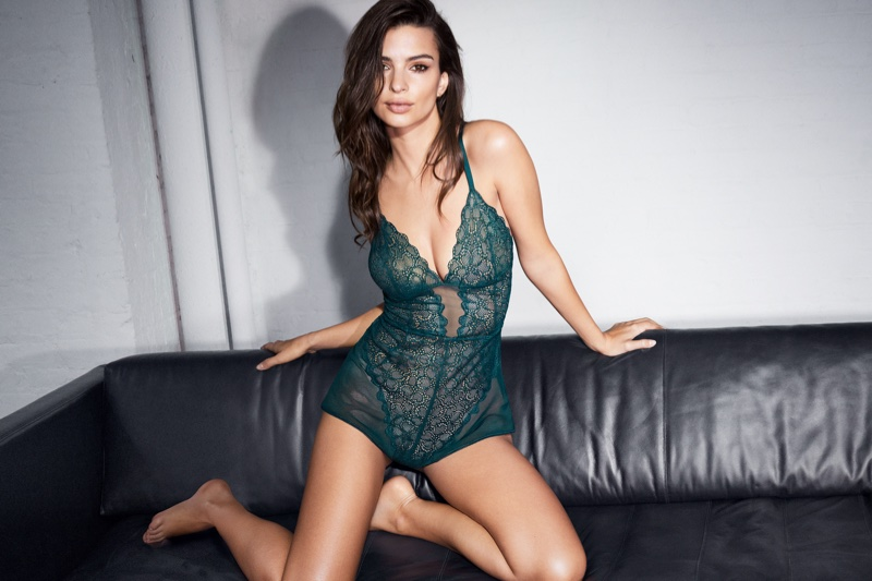 Wearing a green bodysuit, Emily Ratajkowski fronts DKNY Intimates fall-winter 2018 campaign