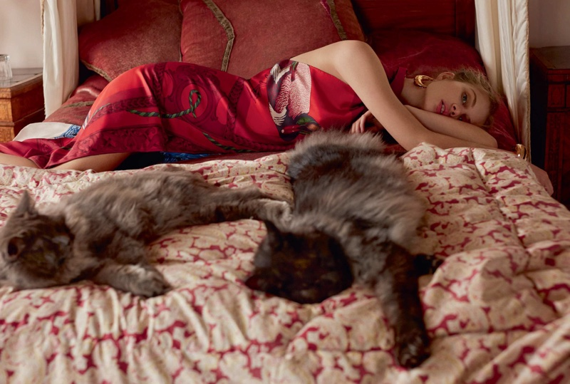 Florence Kosky is a Fashionable Cat Lady for Harper's Bazaar UK