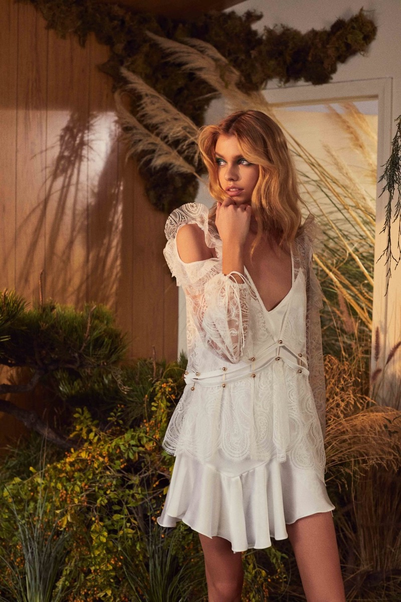 For Love & Lemons features Sabrina layered minidress in fall 2018 collection