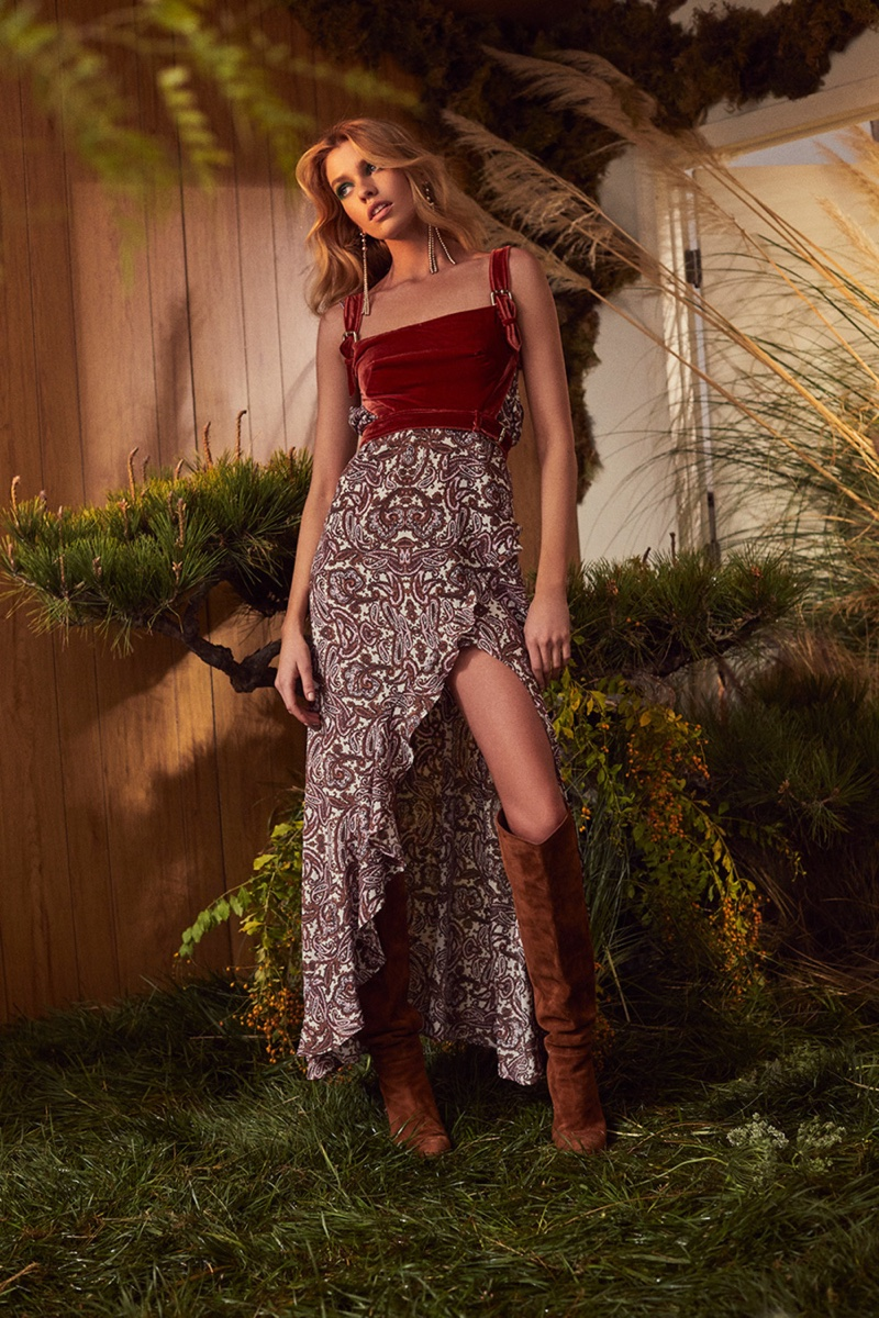 Stella Maxwell fronts For Love & Lemons fall 2018 lookbook