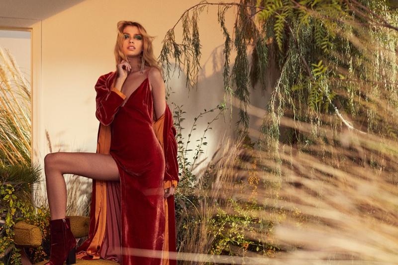 For Love & Lemons features Nadine velvet dress and coat in fall 2018 lookbook