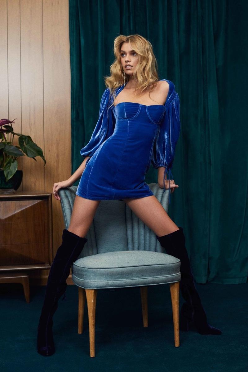 For Love & Lemons feature blue velvet minidress in its fall 2018 lookbook