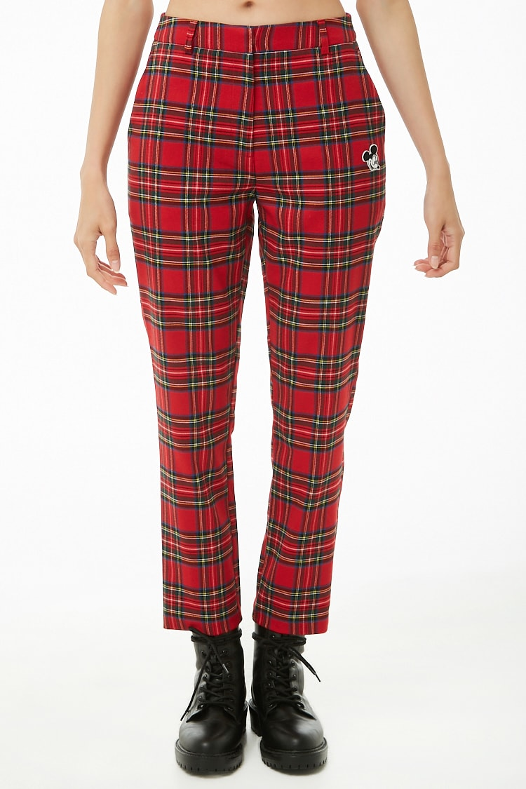 Forever 21 x Mickey Mouse Patch Plaid Pants $29.90