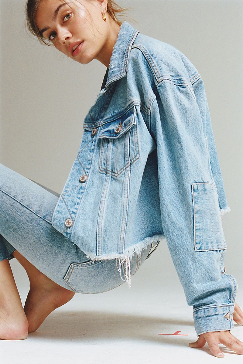 Free People Cropped Denim Jacket and We The Free Stella Skinny Jeans