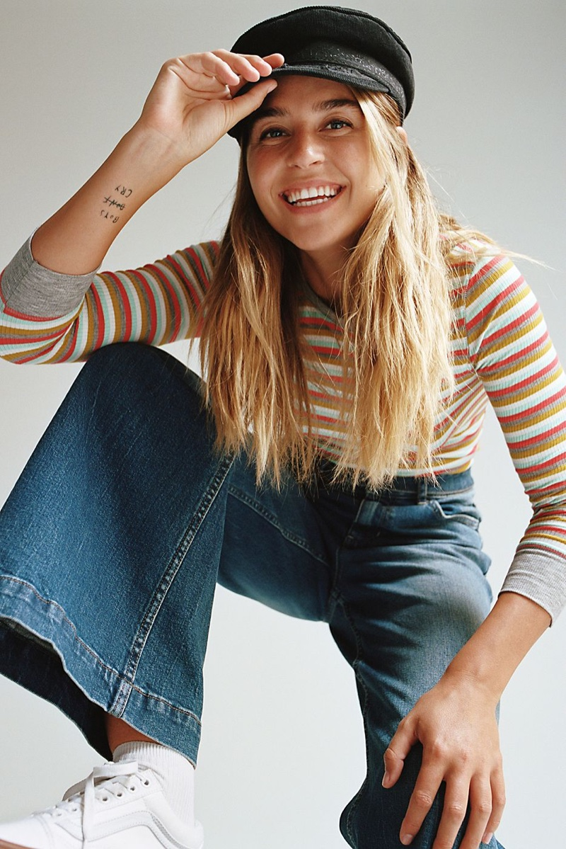 Intimately Free People Good On You Long Sleeve and We The Free Ringer Denim Wide Leg Jeans