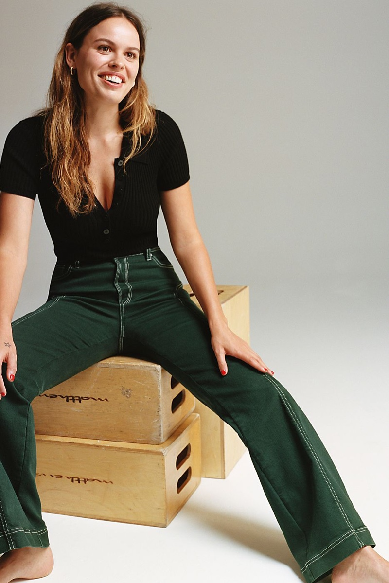 Intimately Free People Tuesday Bodysuit and Free People High Rise Foxy Flare Jeans