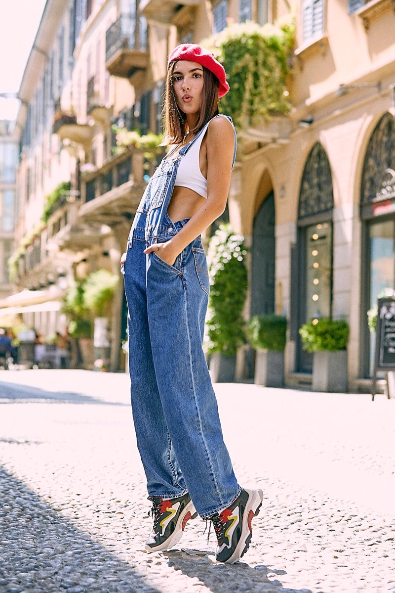 Levi's Baggy Denim Overalls, Intimately Free People Clean Scoop Bralette, Free People Du Jour Beret and Ash Miles Sneaker