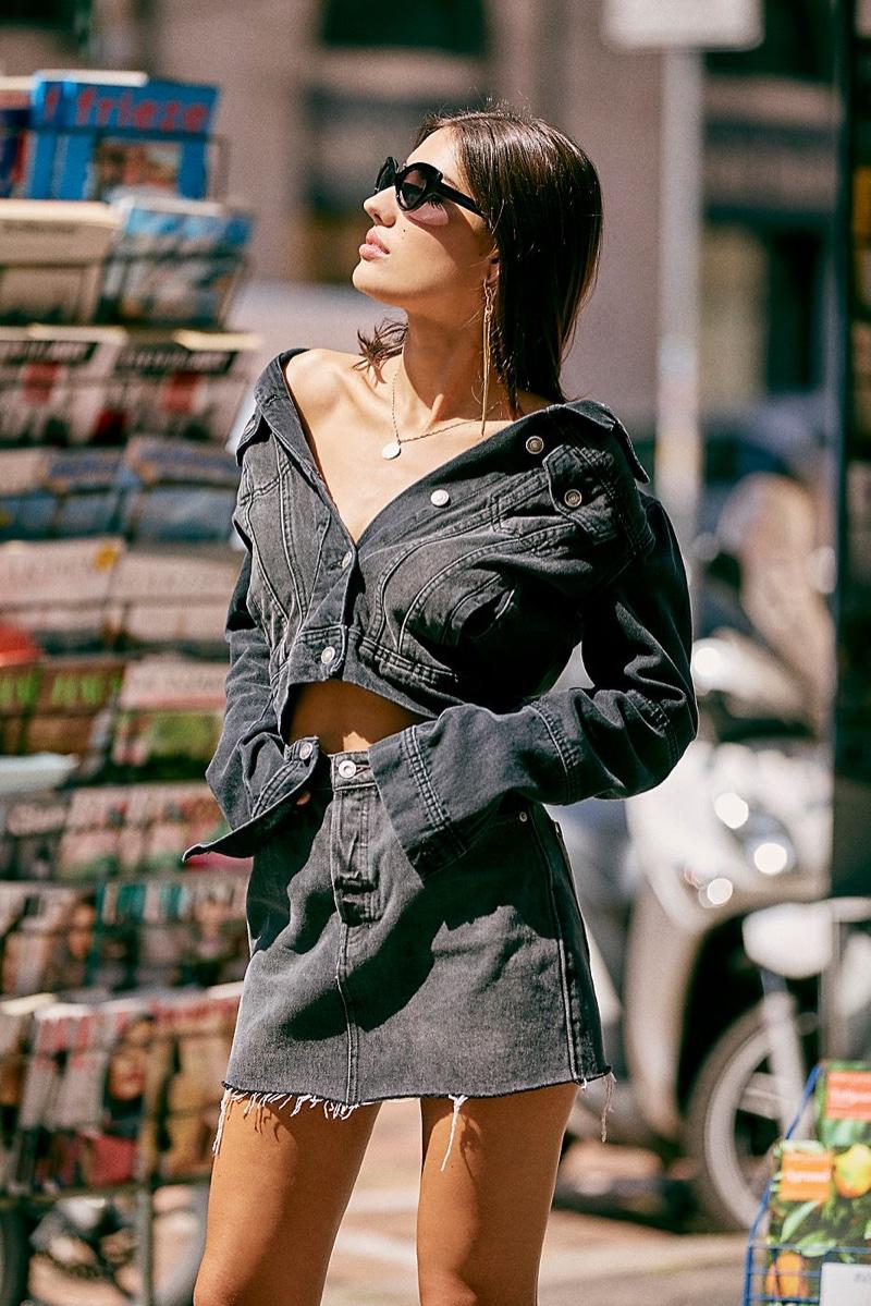 Free People Rumors Denim Jacket and Rugged A-Line Skirt