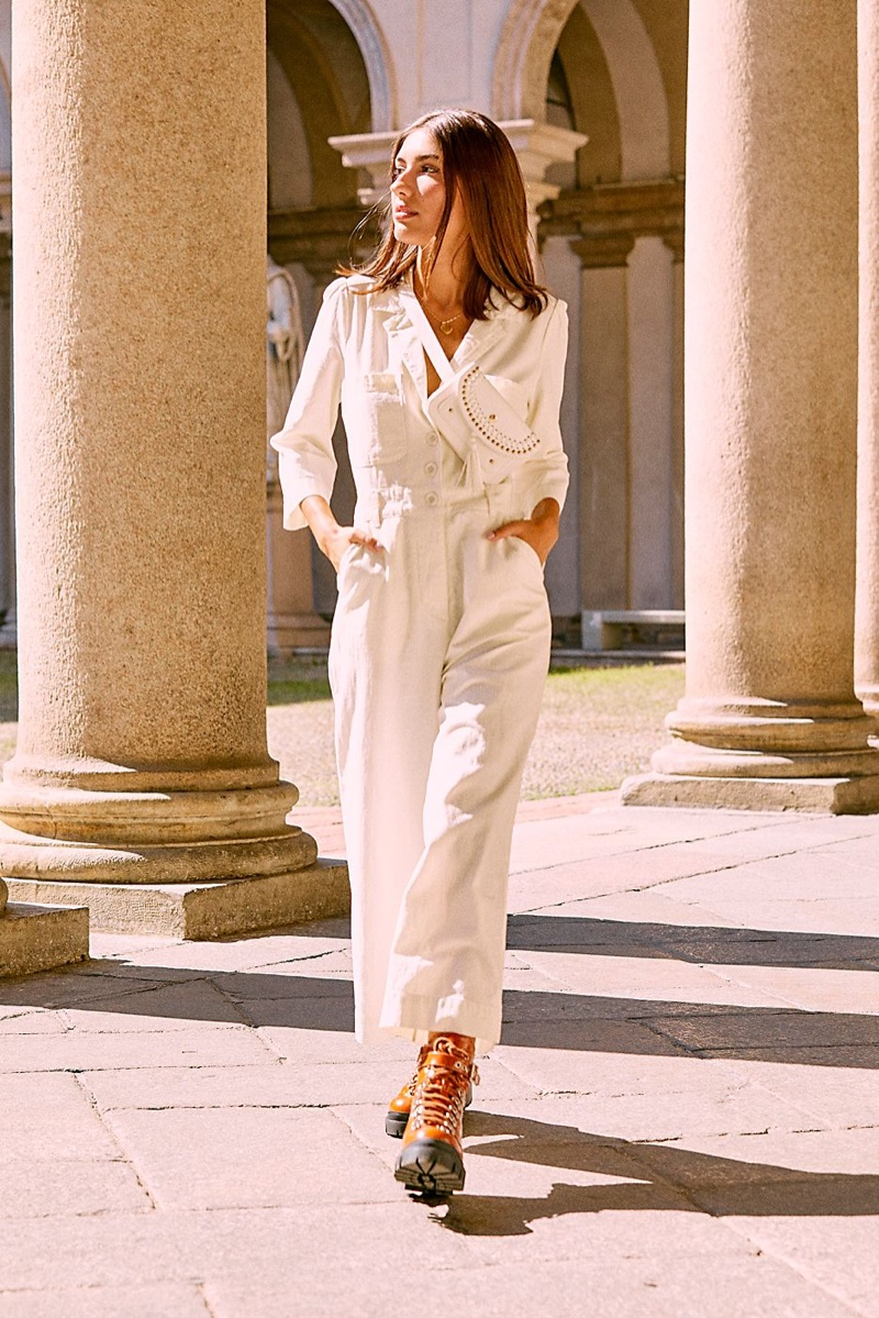 Free People Back Into It Jumpsuit, Tara Tassel Belt Bag and Jeffrey Campbell Check Lace-Up Boot
