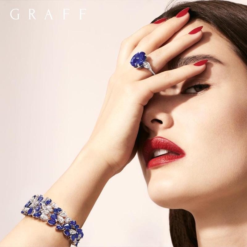 Graff Diamonds spotlights diamond and sapphire jewelry for Work of Art campaign