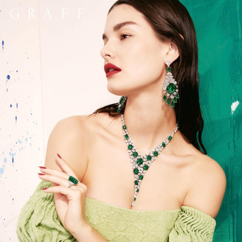 Ophelie Guillermand appears in Graff Diamonds Work of Art 2018 campaign