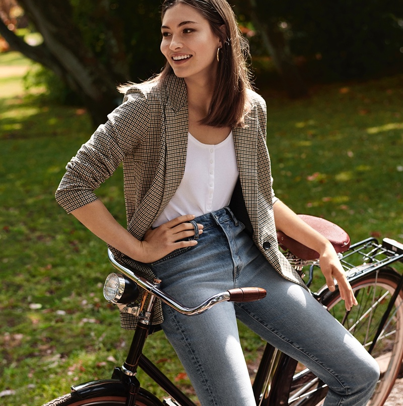 H&M Jersey Jacket, Henley-Style Top and H&M Conscious Mini Flare High Jeans