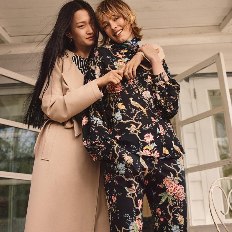 (Left) H&M Lightweight Trenchcoat and H&M x GP & J Baker Patterned Dress (Right) H&M x GP & J Baker Patterned Blouse and Patterned Slacks