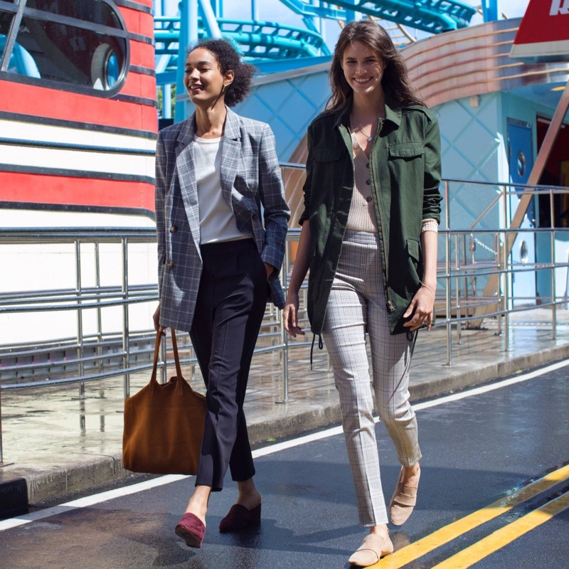 (Left) H&M Double-Breasted Jacket, Cotton T-Shirt, Pull-On Pants, Suede Shopper and Suede Mules (Right) H&M Long Utility Jacket, Ribbed Top, Slacks and Loafers