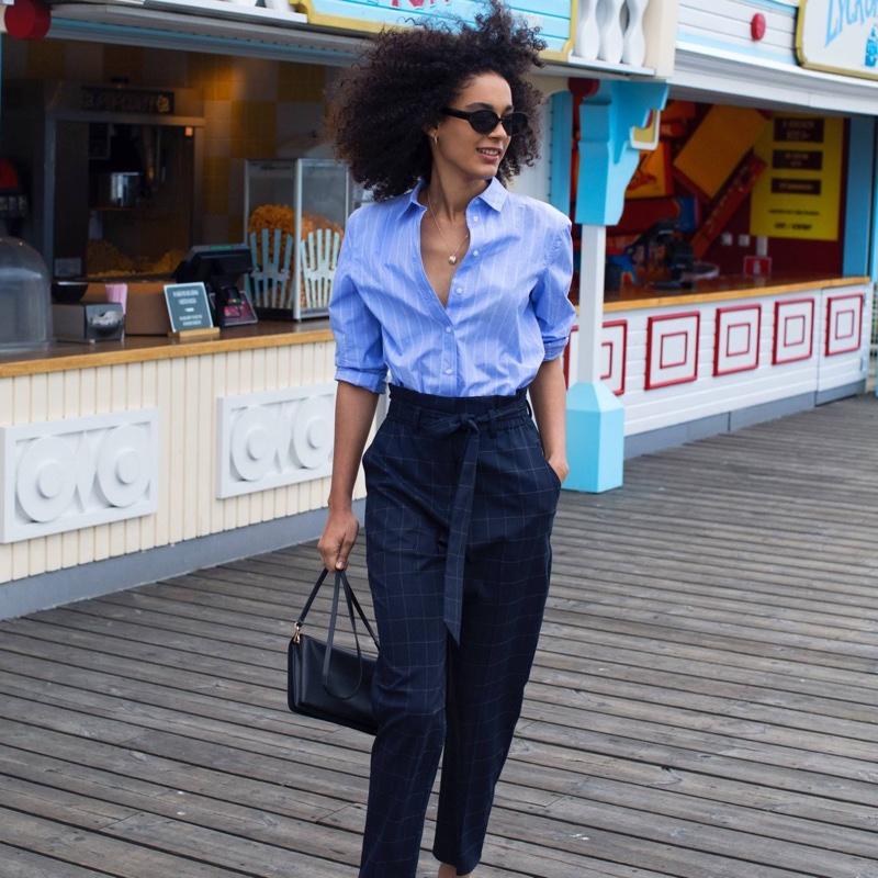 H&M Cotton Shirt, Paper-Bag Pants, Small Shoulder Bag and Sunglasses