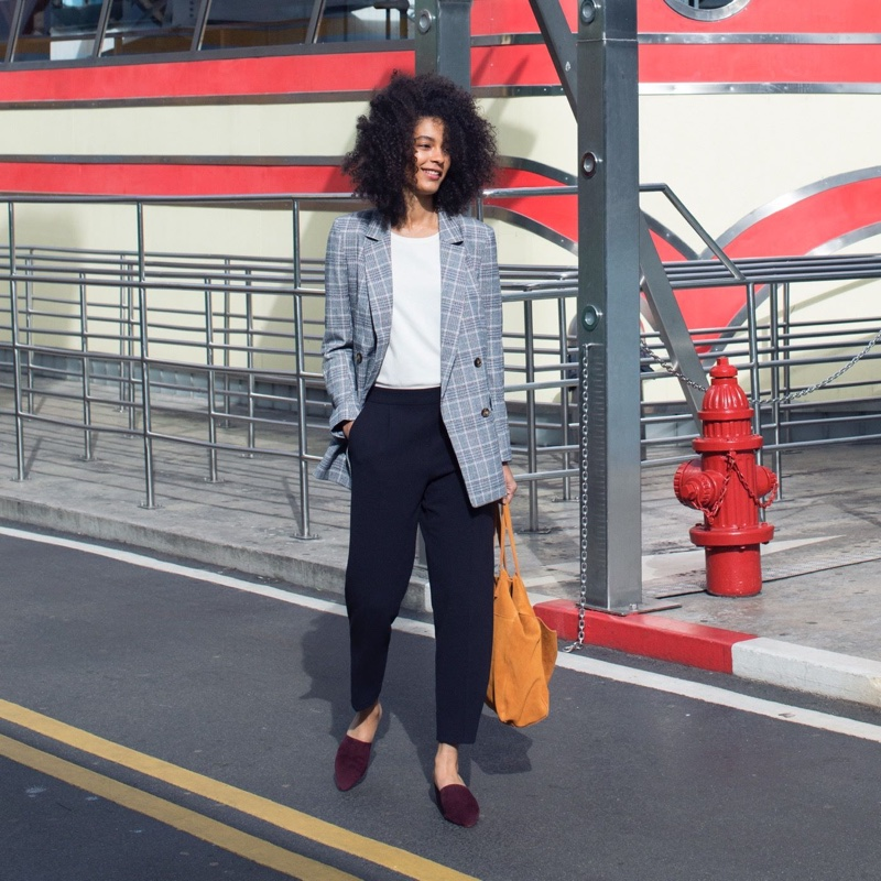 H&M Double-Breasted Jacket, Cotton T-Shirt, Pull-On Pants, Suede Shopper and Suede Mules