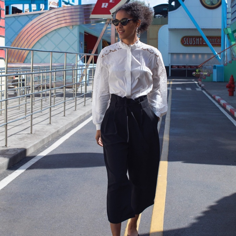 H&M Embroidered Blouse, Wide-Cut Pants and Sunglasses