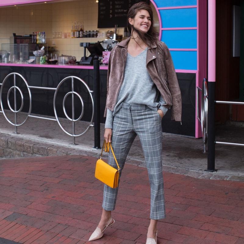 H&M Suede Biker Jacket, Fine-Knit Sweater, Stovepipe Pants and Shoulder Bag