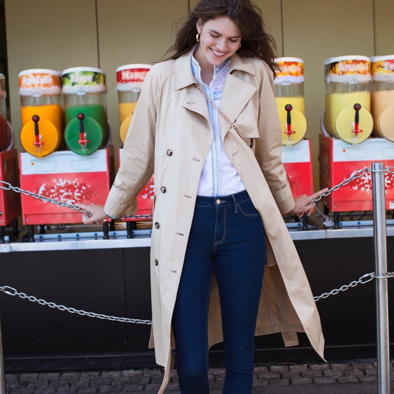 H&M Trench Coat, Embroidered Cotton Blouse and Skinny Regular Ankle Jeans