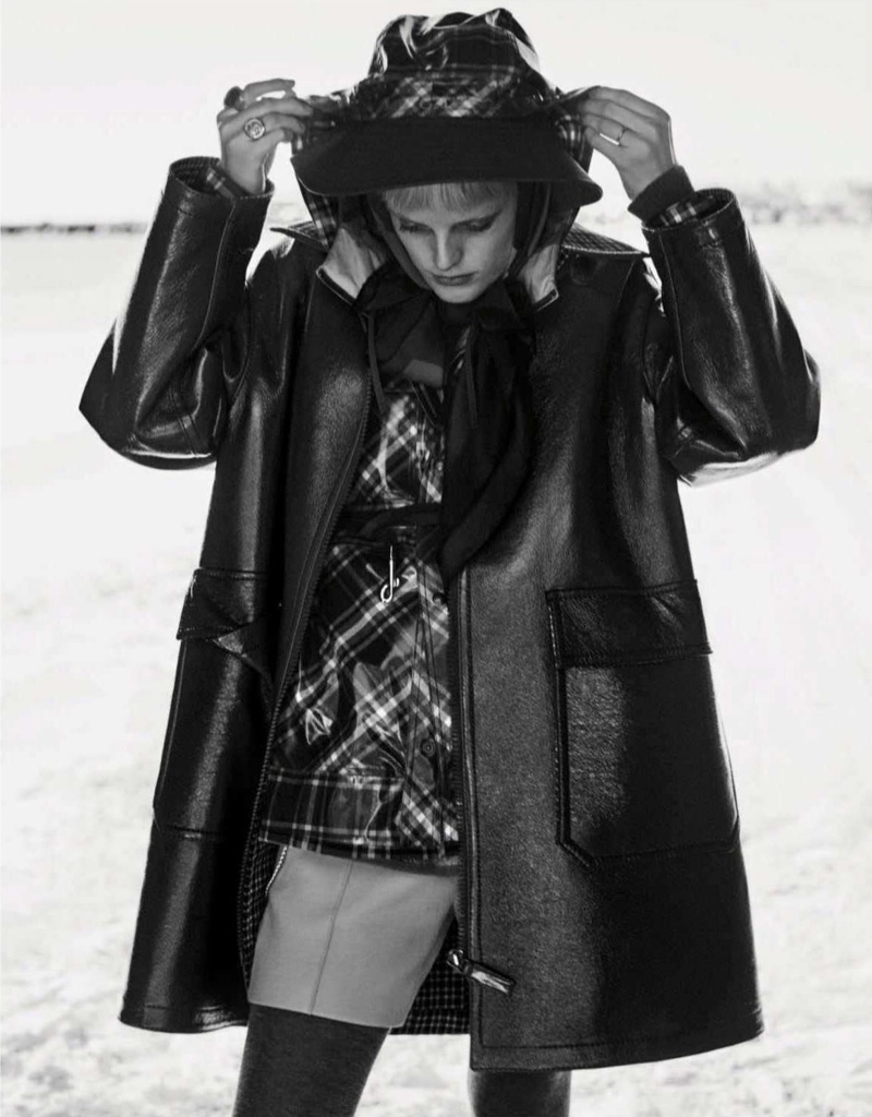 Hanne Gaby Odiele Poses in Autumn Outerwear for Vogue Germany