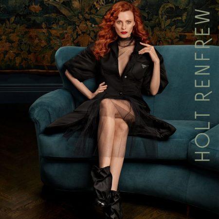Model Karen Elson wears Prada look in Holt Renfrew fall-winter 2018 campaign