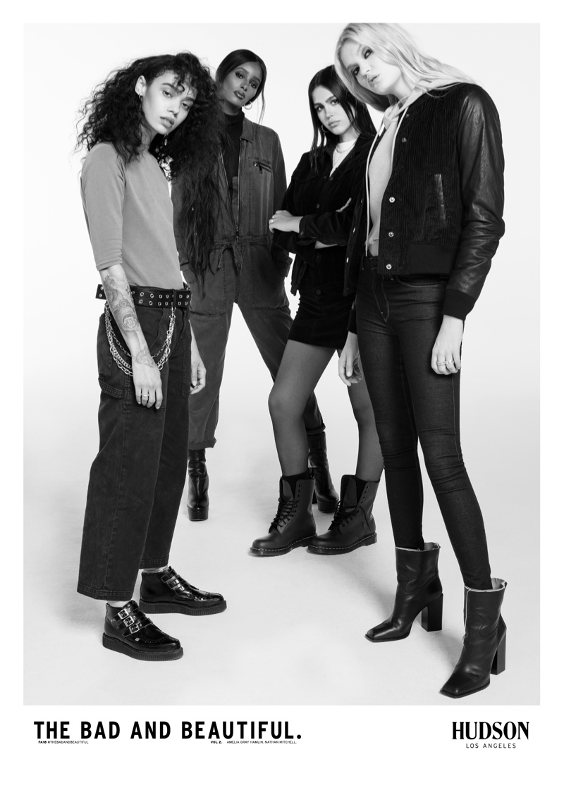 Indyamarie Jean, Senait Gidey, Amelia Gray Hamlin and Abby Williamson star in Hudson Jeans fall-winter 2018 campaign