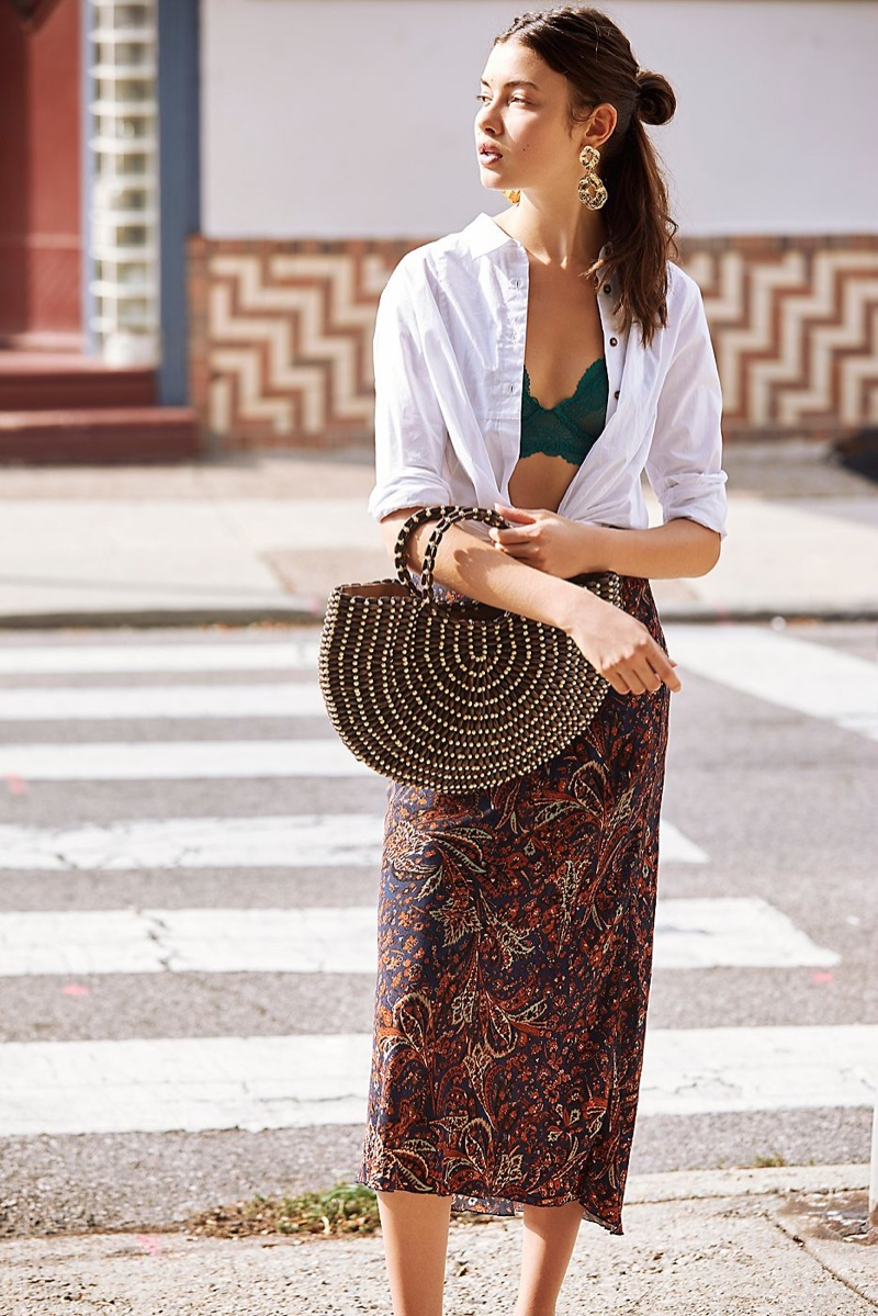 Free People Through The Canyon Buttondown Top, Intimately Free People Jasmine Underwire Bra, Free People Kendall Midi Skirt and Ibiza Beaded Tote Bag