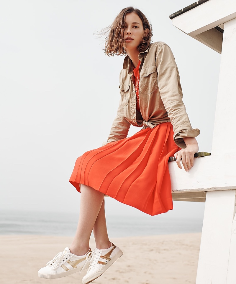 J. Crew Boyfriend Utility Shirt, Dance It Out T-Shirt, Double-Pleated Midi Skirt and Gola for J. Crew Mark Cox Tennis Sneakers