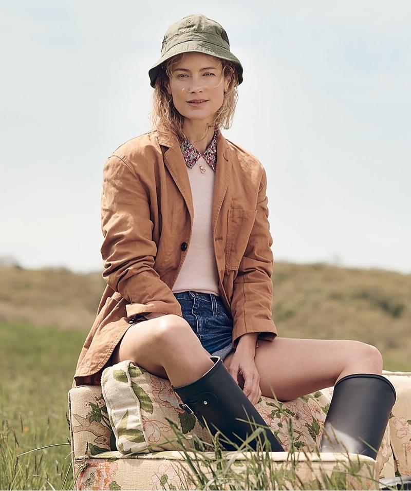 Wallace & Barnes Garment-Dyed Chore Blazer, J. Crew x Liberty Collared Tippi Sweater, High-Rise Denim Short in Brixton Wash and Mesh Paneled Bucket Hat