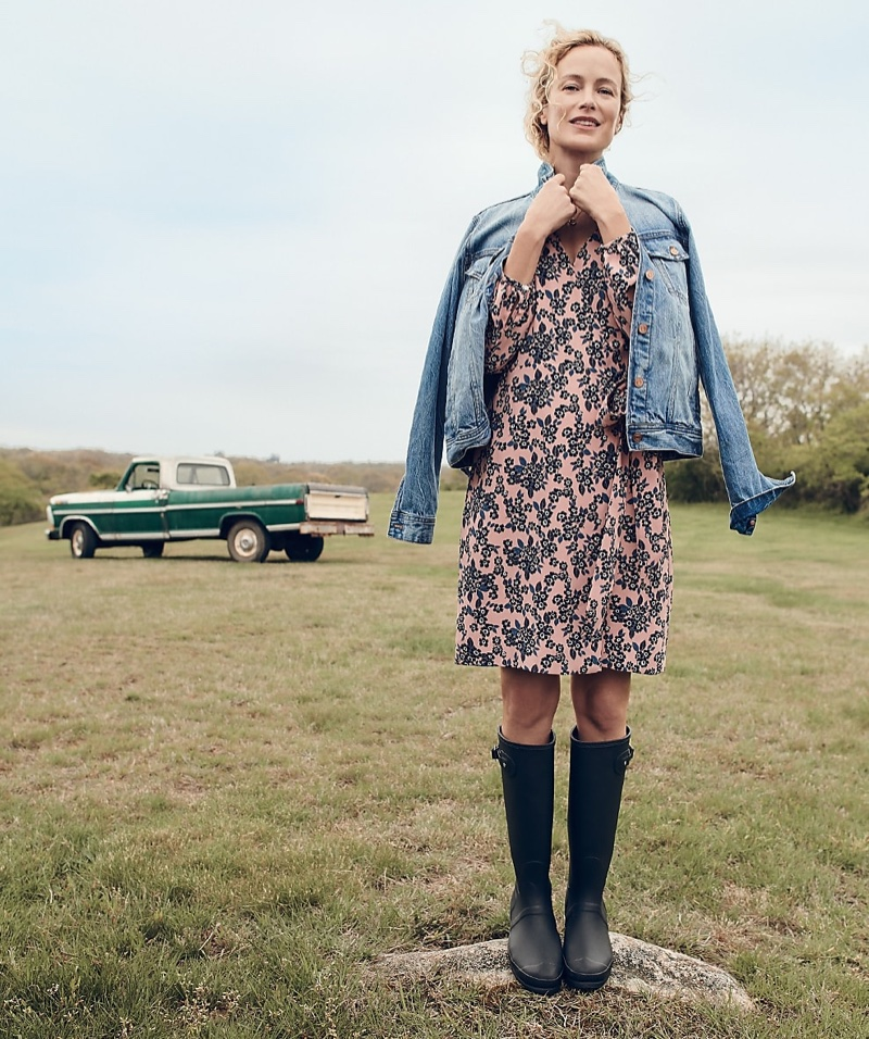 J. Crew Classic Denim Jacket and Rosy Floral Wrap Dress in 365 Crepe