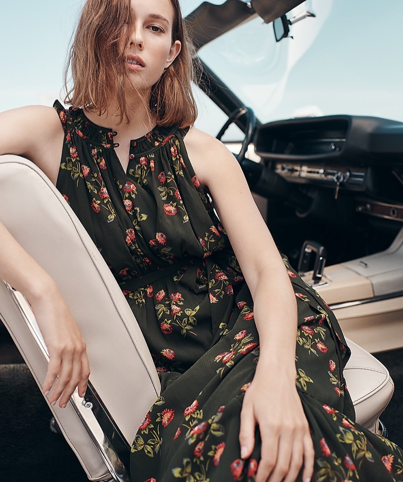 J. Crew Point Sur High-Neck Ruffle Floral Dress