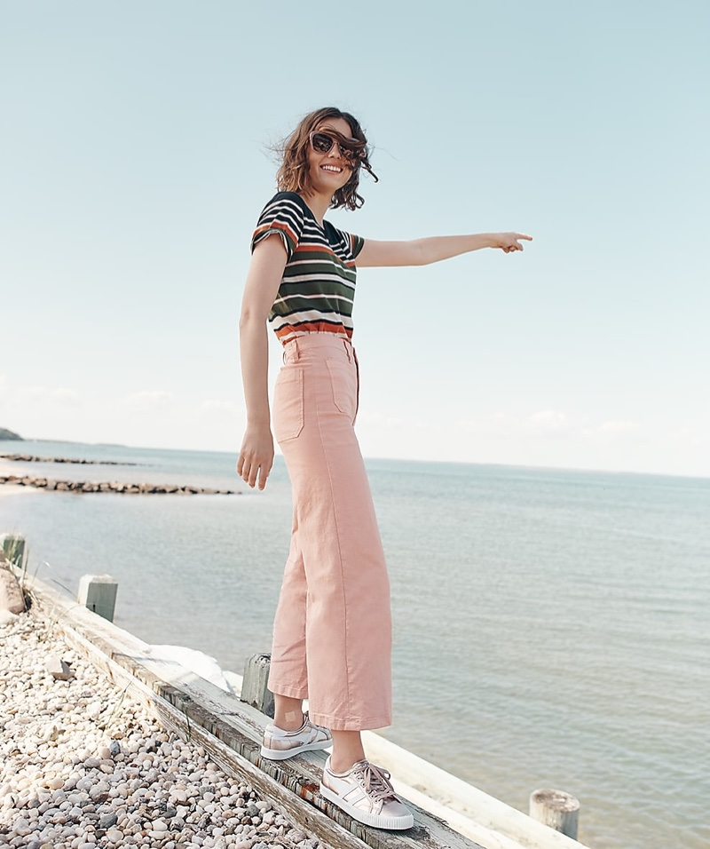J. Crew Mercantile Broken-in T-Shirt in Stripes, Point Sur Washed Wide-Leg Crop Pant, Gola for J. Crew Mark Cox Tennis Sneakers and  J. Crew Square Frame Sunglasses