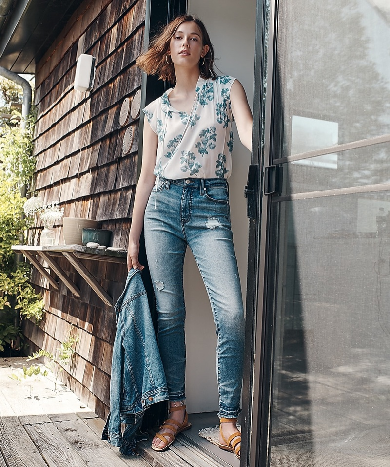 J. Crew Point Sur Sleeveless Tie-Neck Floral Top, Hightower Straight Jean in Pale Ice Wash, J. Crew Classic Denim Jacket and Strappy Buckled Sandals in Suede