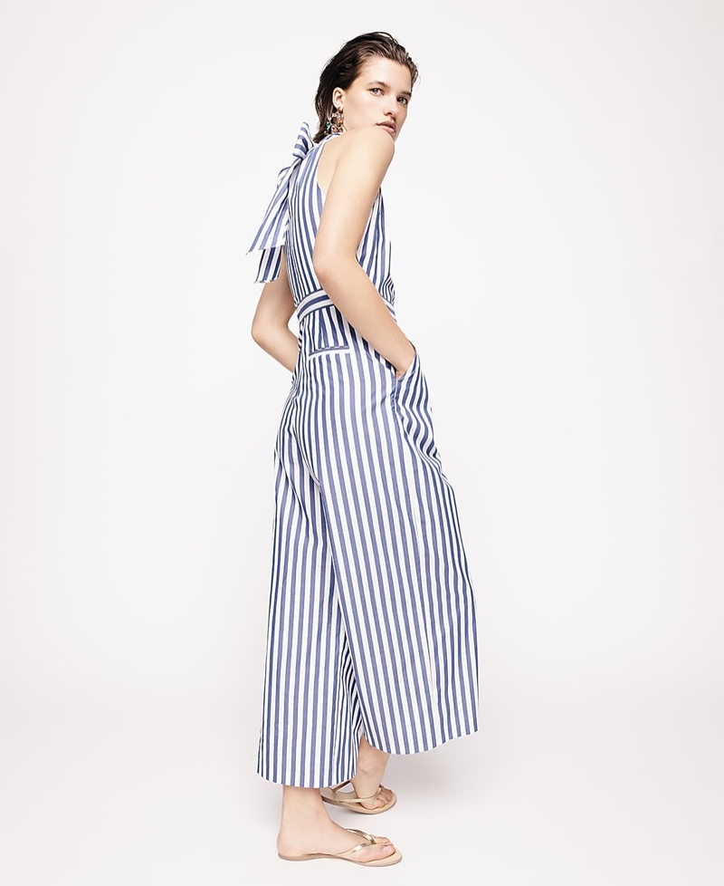 J. Crew Striped Halter Jumpsuit, Metallic Leather Capri Sandals and Crystal and Resin Chandelier Earrings