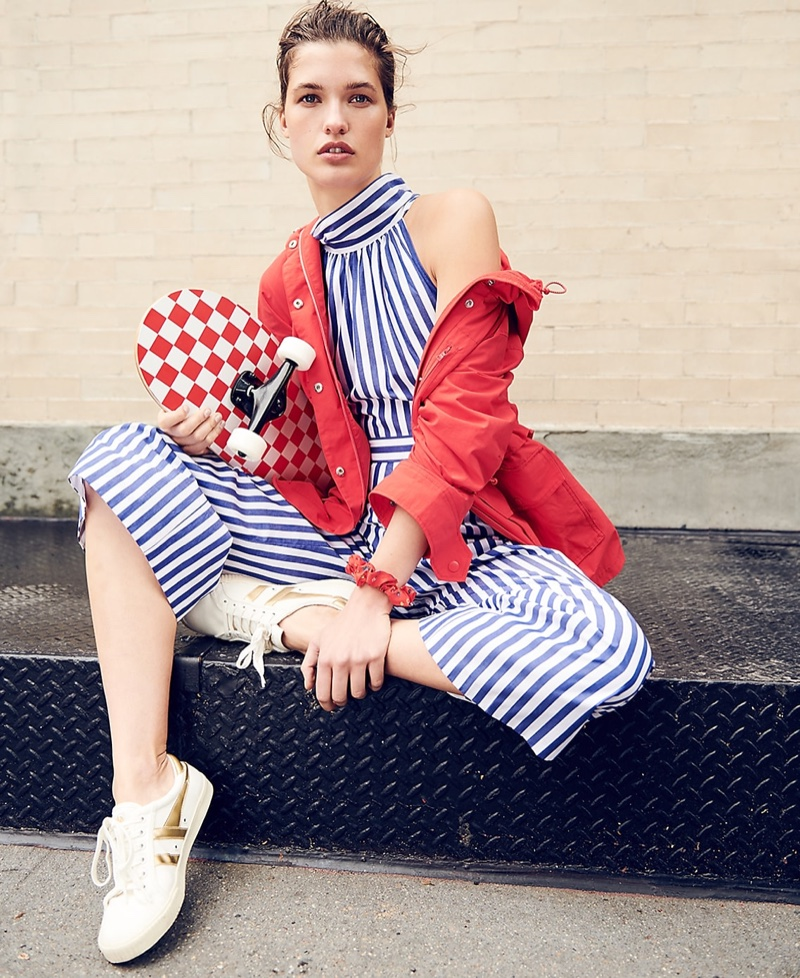 J. Crew Perfect Rain Jacket, Striped Halter Jumpsuit and Gola for J. Crew Mark Cox Tennis Sneakers