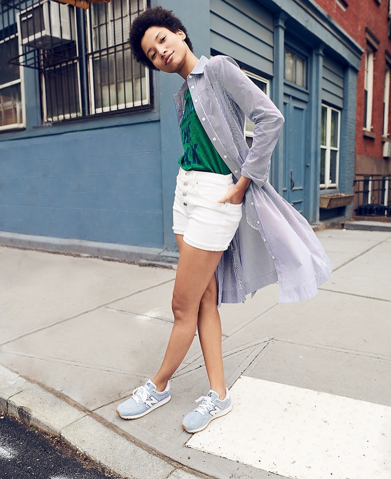J. Crew Tie-Waist Shirtdress in Stripe, Walking the Walk T-Shirt, High-Rise Denim Short in White with Button Fly and New Balance for J. Crew 520 Sneakers